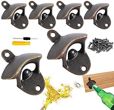 xianzhanEU - Abrebotellas de pared con forma de vintage, sacacorchos de metal para barra, decoración del hogar, etc. con destornillador y tornillo (verde/rojo bronce)