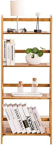 JDBDYA Wood Ladder Vintage Bookshelf Storage Rack