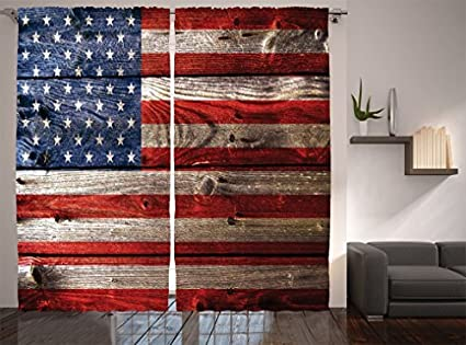 Beau Ambesonne Rustic Decor American USA Flag Curtains, Fourth Of July  Independence Day Weathered Retro Wood