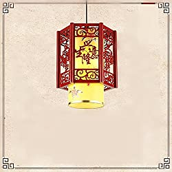 Cttsb chandelier pendant lamps The Southeast Asian Chinese Antique modern minimalist Chinese round solid wood vellum chandelier bedroom restaurant lighting yellow - diameter 3138cm ,3067