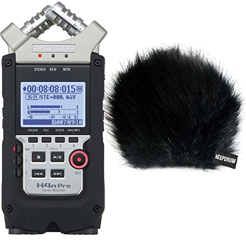 ZOOM H4n PRO Handy Recorder + KEEPDRUM WSBK Fell-Windschutz