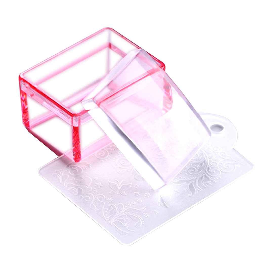 LUFA Herramienta Tampón Arte rectángulo jalea Clavo Cabeza de silicona transparente con sello raspador rosado claro Estampado Azul