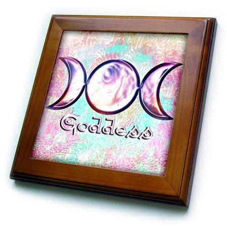 3dRose ft_103657_1 Triple Moon Goddess Wiccan Symbol Surreal Digital Art Framed Tile, 8 by 8
