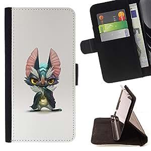 BullDog Case - FOR/HTC Desire 820 / - / CUTE MONSTER BIG EARS GREY CARTOON ART /- Monedero de cuero de la PU Llevar cubierta de la caja con el ID Credit Card Slots Flip funda de cuer