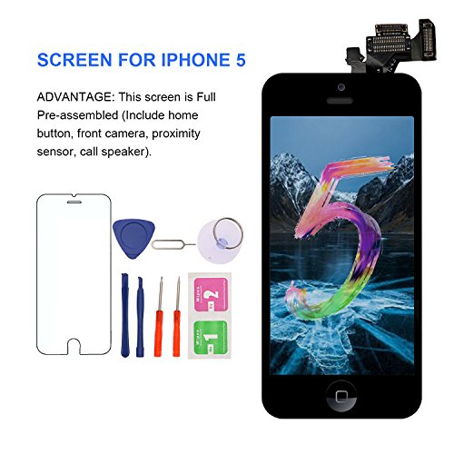 (for iPhone 5 Screen Replacement with Home Button, Black - MAFIX Full Pre-Assembly LCD Display Digitizer Touch Screen Tool Kits for Model A1428/A1429/A1442)
