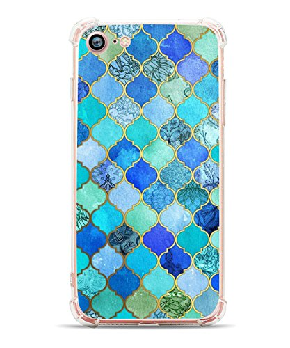 iPhone 8 Case, iPhone 7 Case, Hepix Blue Moroccan Flexible TPU Back Cover with Bumper [4.7 inch]