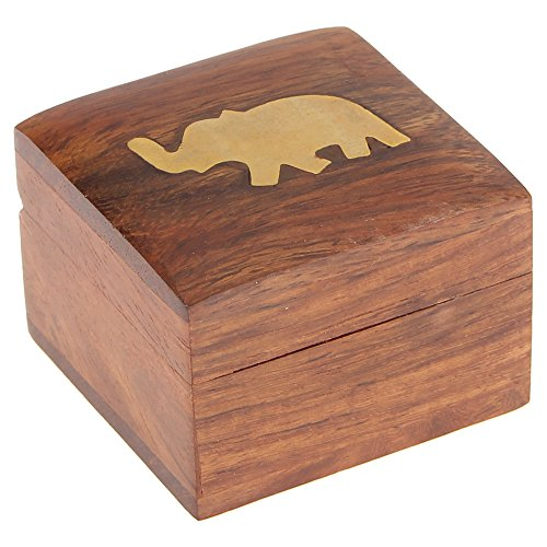(Elephant Charm Wooden Jewelry Box for Rings, Gift for Her, 2x2x1.5 Inches)