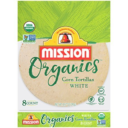 Mission Foods Organics White Corn Tortillas Kosher Certified by CRC Non-GMO Project Certified Organic; Certified Gluten Free White Corn Tortilla
