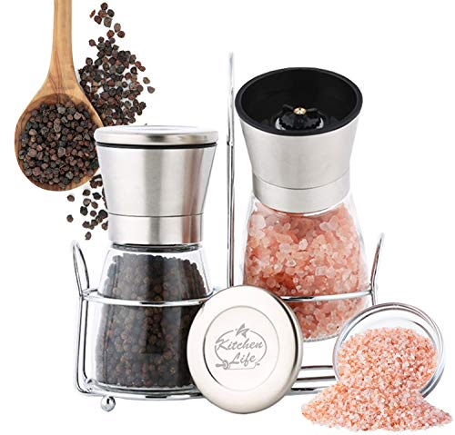 KITCHEN LIFE Stainless Steel Salt And Pepper Grinder Set - Premium Clear Glass Salt & Pepper Mills | Adjustable Coarseness, Easy Refill, User Friendly, Grinders - With Free Stand |