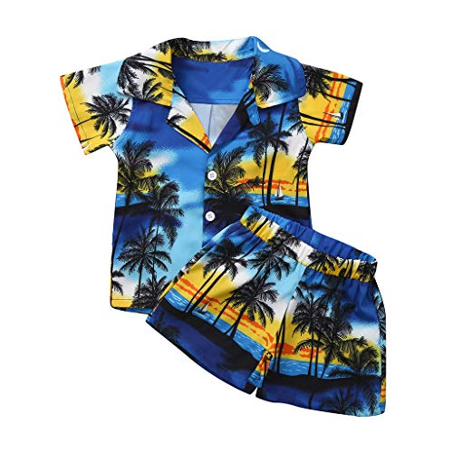 Baby Beach Casual Outfit,SIN vimklo Boy Short Sleeve Leaf Print T-Shirt Tops+Shorts(6Months-4Years) Blue