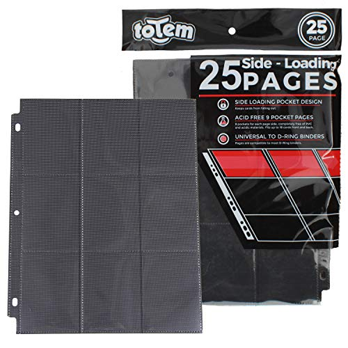 (Totem World 25 Side Load 9-Pocket Pages for Pokemon, Magic, YuGiOh Card Holder - Fits 3 Ring Binder (Black))