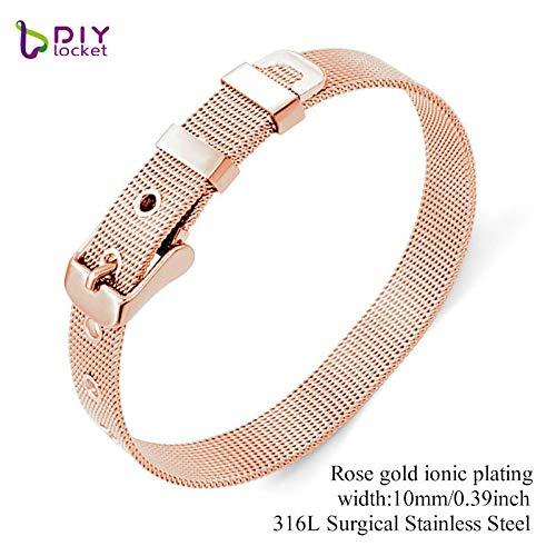 Charm Customized Stainless Steel Mesh Rose Gold Bracelets | Silver Black Slide Letter (8mm 10mm 18mm)