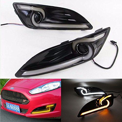 2X LED Daytime Running Lights DRL Fog Lamp For Ford Fiesta With Amber Turn Signal Light 2013 2014 2015 CNAutoLicht Ford Fiesta