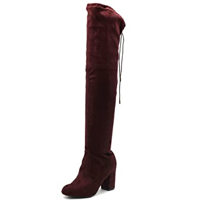837c70f8fba Ollio Women Shoe Drawstring Stretch Faux Suede Over The Knee Stacked Heel  Long Boots TWB06(