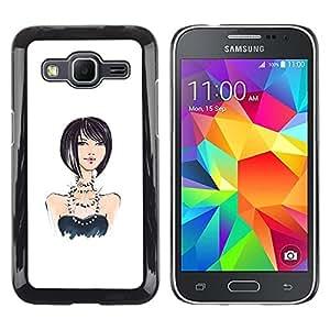 Chica Perlas Diseño Blanco Negro Moda- Metal de aluminio y de plástico duro Caja del teléfono - Negro - Samsung Galaxy Core Prime