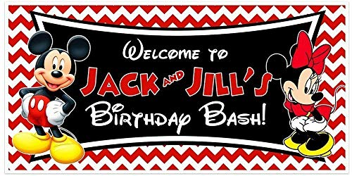 Mickey and Minnie Birthday Banner Personalized Party Backdrop Decoration -