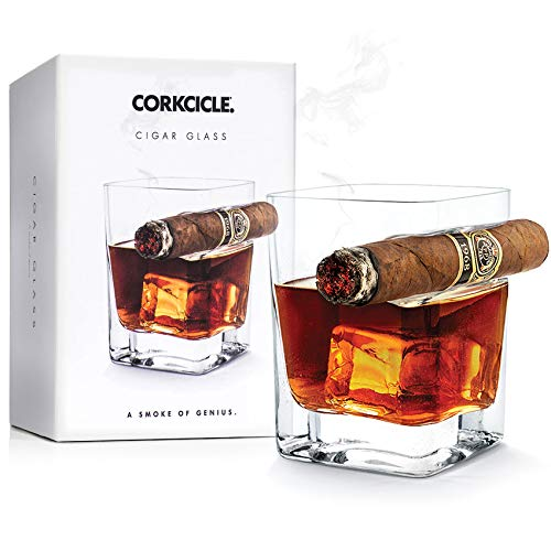 Corkcicle Cigar Glass - Double Old Fashioned Glass With Built-In Cigar -