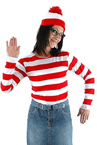 Where's Waldo Costume Men (Where's Waldo Now Costume Adult Funny Sweatshirt Hoodie Outfit Glasses Hat Cap Suits (Large, Female))