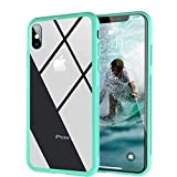 Clear Hybrid iPhone Xs/iPhone X Case by Ztotop, Thin Tempered Glass Back Cover and Soft Silicone Rubber Bumper Frame for iPhone X/iPhone 10 (2017)/ iPhone Xs (2018) - Mint Green Frame