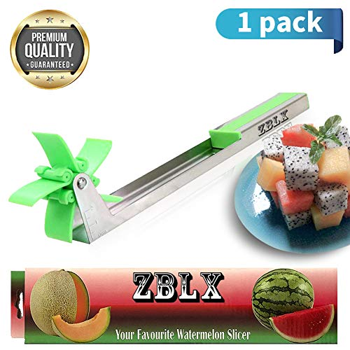 Watermelon Slicer,Stainless Steel Watermelon Slicer Windmill Shape for Salad Melon and Cantaloupe Fruit Slicer Cutter Home Professional Restaurant Chefs - Easy Grip Kitchen Gadgets (green)