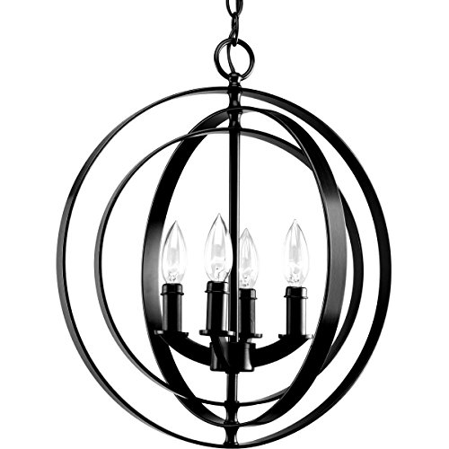 Meridian Pendant Lamp (Diamond Life Modern Meridian 4-Light Pendant Chandelier, Antique Black)