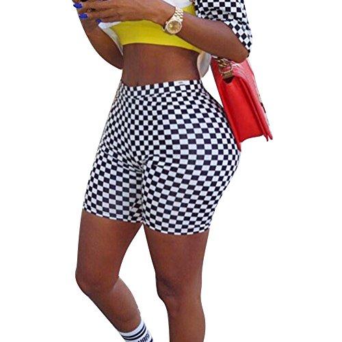 Yying Shorts  Carreaux pour Femme - Confortable Taille lastique Slim Pantalon Court Mode Taille Haute Casual Fitness Pantalon Shorts Streetwear Noir 2