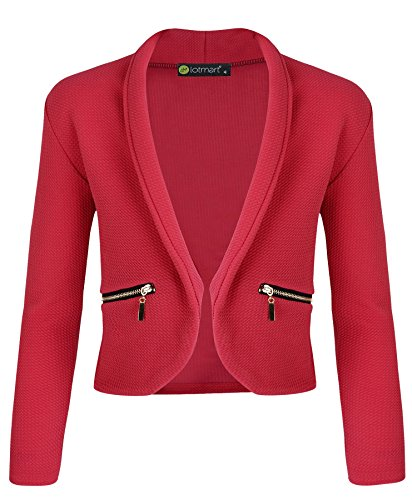 LotMart Girls Open Front Jacket Long Sleeve Zip Pocket in Bright Red 7-8 Y