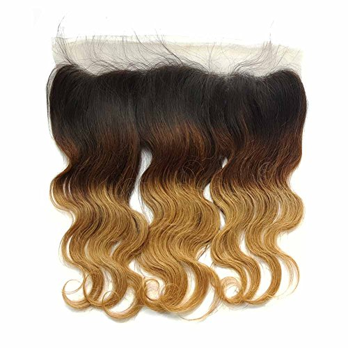 SHOWJARLLY 13'' x 4'' Ombre Blonde Brazilian Lace Frontal Closure Body Wave 3 Tone 1b/4/27 Free Part Ear To Ear Full Lace Front Closure With Baby Hair 18'' by SHOWJARLLY