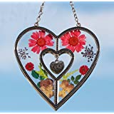 Mom Heart Suncatcher - Pressed Flower Glass Heart with Pink Mom Heart - Birthday Gifts for Mom - Gifts for Her (4.750 * 4.750 inch) … (4.75 * 4.75)