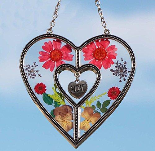 Mom Suncatcher (Tiffany Lamp & Gift Factory Mom Heart Mother Suncatcher with Pressed Flower Heart - Heart Suncatcher - Mom Gifts Gift for Mother's Day)