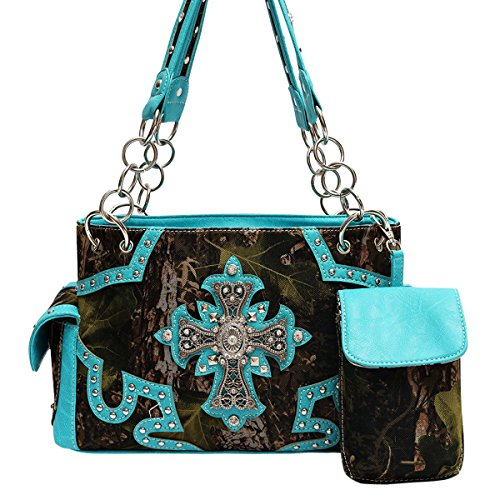 [Unique Turquoise Camo Bling Cross Designer Chain Concealed Carry Purse Handbag TravelNut Nice Awesome Spiritual Birthday Best Selling Valentine Day Gift Idea Ladies Aunt Women Wife Her Mother] (Western Day Dress Up Ideas)