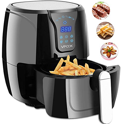 VPCOK Hot Air Fryer Without Oil LED Touch Display, 2.6 Liter, Jet Black,