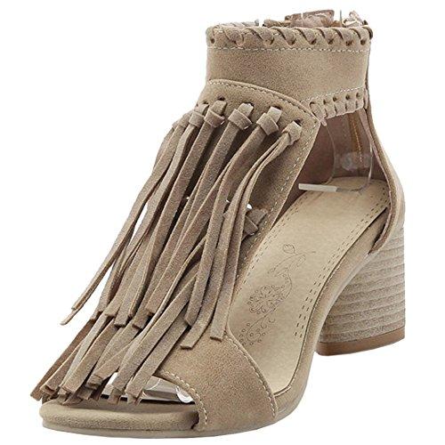 TAOFFEN Women Fashion Open Toe Mid Block Heel Ankle Strap Zipper Fringe Sandals Khaki Xw1R24D
