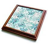 3dRose trv_276335_1 Turquoise Watercolor Flower Pattern Trivet with Tile, 8 by 8''
