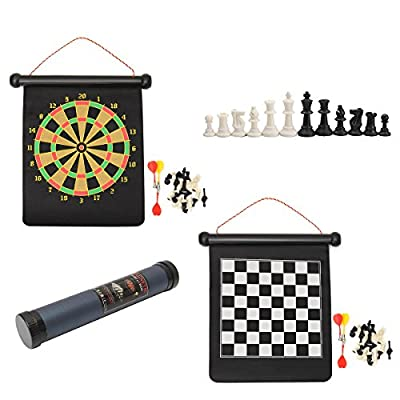 Caveen 2 in 1 Travel Magnetic Chess and Darts Game Set Outdoor Home Party Board Games