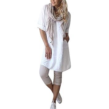 4e334bb1bc6 Women Shirts Cotton Linen Plain Hosamtel Loose Plus Size Lace Short Sleeve  Casual Tunic Tops T