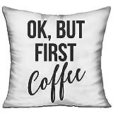 steam pod flat iron - ZhiqianDF OK, But First Coffee Double Side Print Sofa Decor White One Size Throw Pillow Square 18
