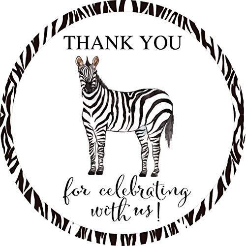 40-Pack 2inch Zebra party thank you stickers, safari animal Baby Shower or Birthday Party Sticker, Party Circle Decorations, Supplies, Favor Labels -