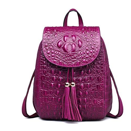 Jsix Mujer Mochila de cuero mochila de moda para las mujeres estilo casual Viajar viajes Estudiante Universidad Morral de cocodrilo Patrón Púrpura