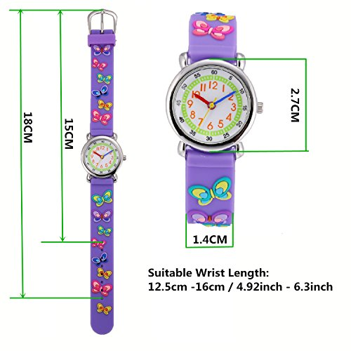 Children Kids Toddler Watches Age 4-7 Time Teacher Watches, Cartoon Character 3D dinosaur Silicone Band Watches (Purple - Butterfly) by Jewtme (Image #5)
