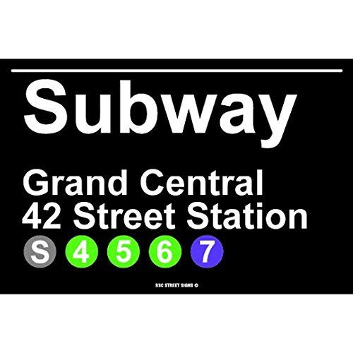 Subway Grand Central 42 Street Station NYC Aluminum Tin Metal Poster Sign Wall Decor (Subway Sign)