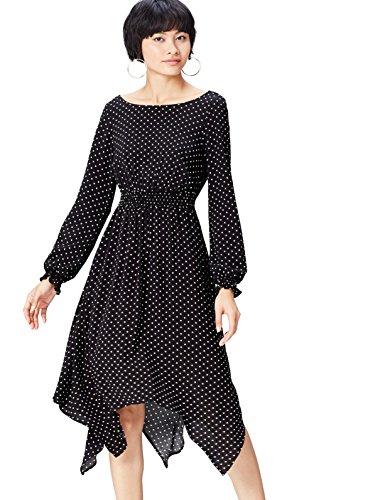 Asymmetrisches Midi Black FIND Kleid Damen Schwarz fP8Owq6zgx