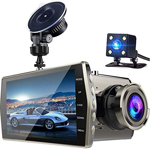 Dash Cam - 1080P Full HD Car DVR Dashboard Camera, Driving Recorder with 4 Inch LCD Screen, 170 Degree Wide Angle, WDR, G-Sensor, Motion Detection, Loop Recording(Gold)