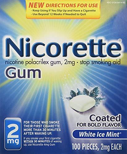 Stop Smoking Gum - Nicorette OTC Stop Smoking Nicotine Gum, 2mg-White Ice Mint-100 ct.