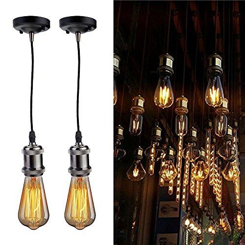 2 Pcs/Lot Vintage Pendant Lamp Holder DIY Kit, Jeffrien Retro Industrial Red Copper Light Socket Ceiling Hanging Lighting Fixture with Black Twisted Fabric Cable for Loft Kitchen Bedroom ()