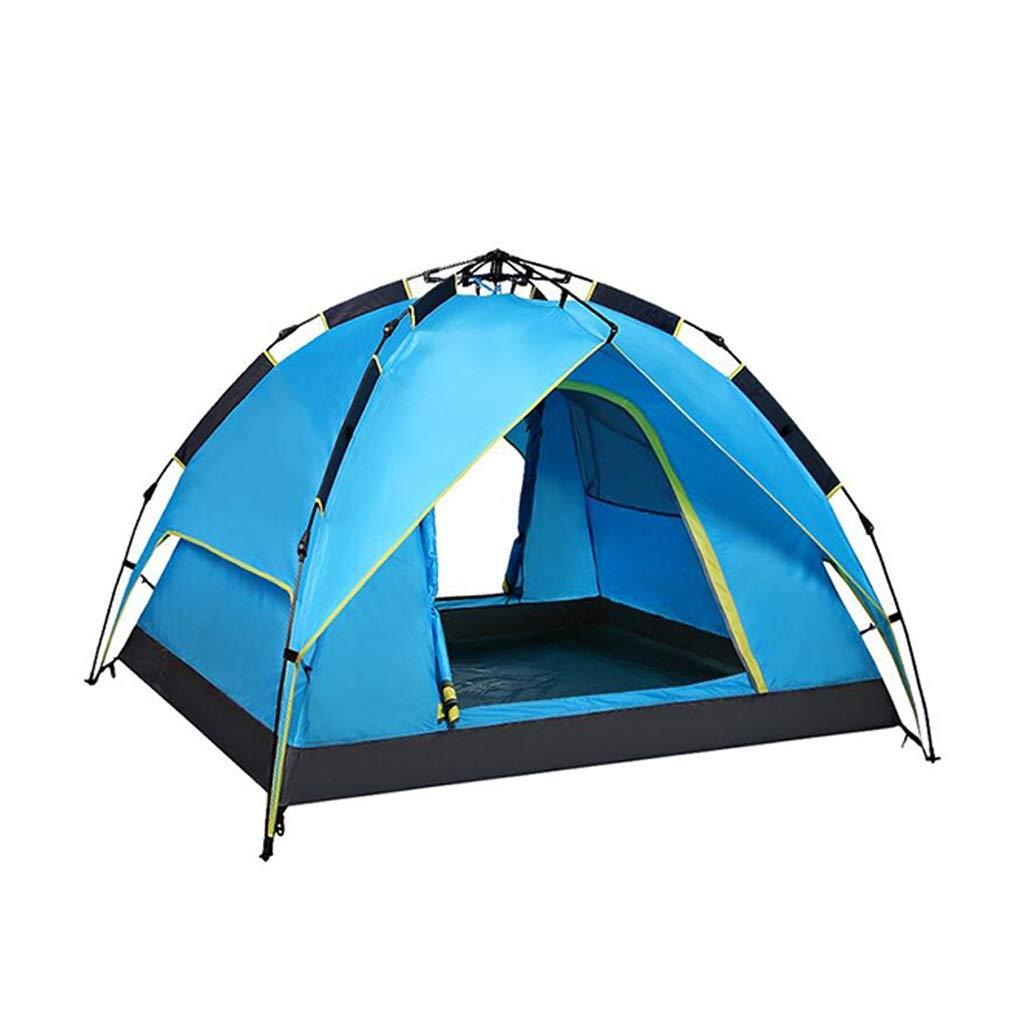 家族屋外キャンプテントストレッチ二層自動ゲームテント家庭用野生キャンプビーチテントポータブルポップアップテント (色 : 青) B07TTVSGPG 青