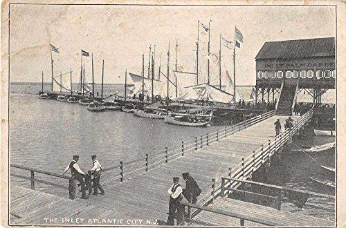 Atlantic City New Jersey The Inlet Boat Docks Antique Postcard J55178
