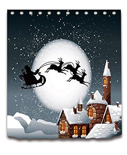 LB Merry Christmas Season Eve New Year Decorative Decor Gift Shower Curtain Polyester Fabric 72x72 inch Night Santa Claus Sleigh Chimney Silver Bathroom Bath Liner Set ()