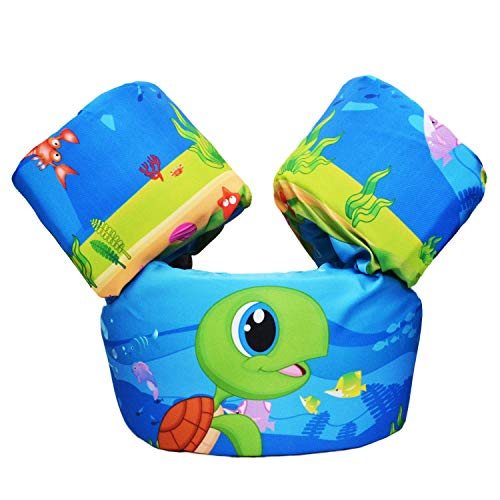 CONHENCI Swim Aid Puddle Jumper Life Jacket Floaties for Toddlers 30-55lbs(Turtle)