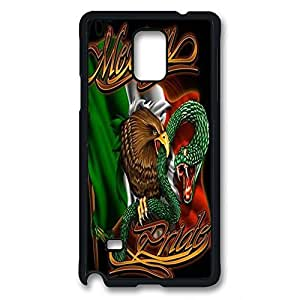 Note 4 case,Samsung Galaxy Note 4 case ,fashion durable Black side design for Samsung Galaxy Note 4,PC material cover ,Designed Specially Pattern with Mexican Flag With Animation .